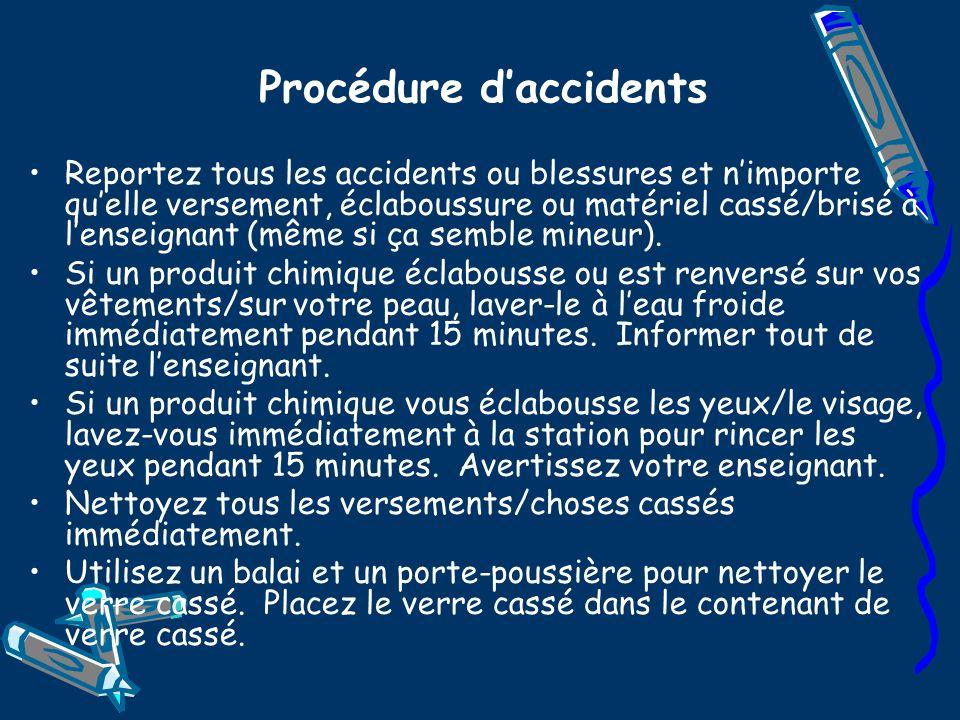 Procédure daccidents Reportez tous les accidents ou blessures et nimporte quelle versement, éclaboussure ou matériel cassé/brisé à lenseignant (même s