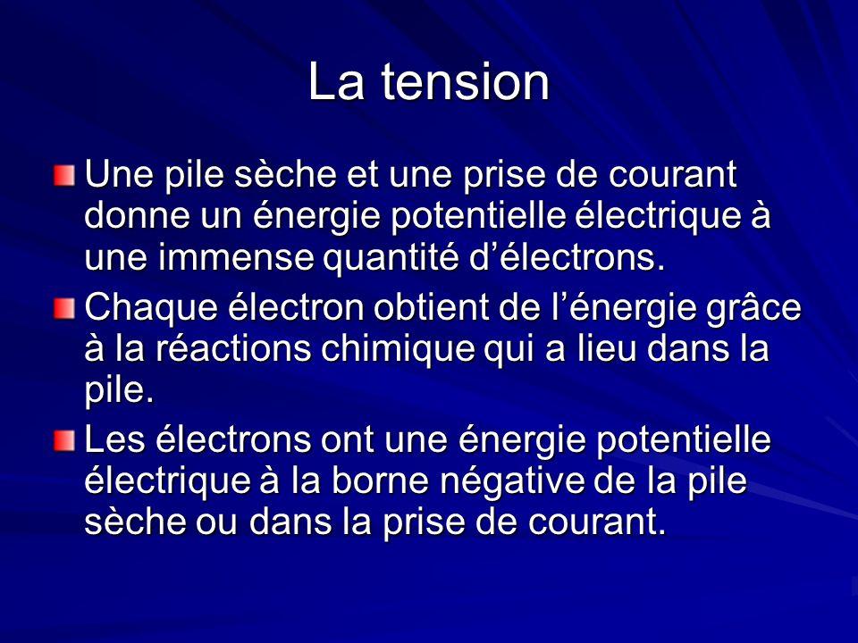 La tension Une pile sèche et une prise de courant donne un énergie potentielle électrique à une immense quantité délectrons.