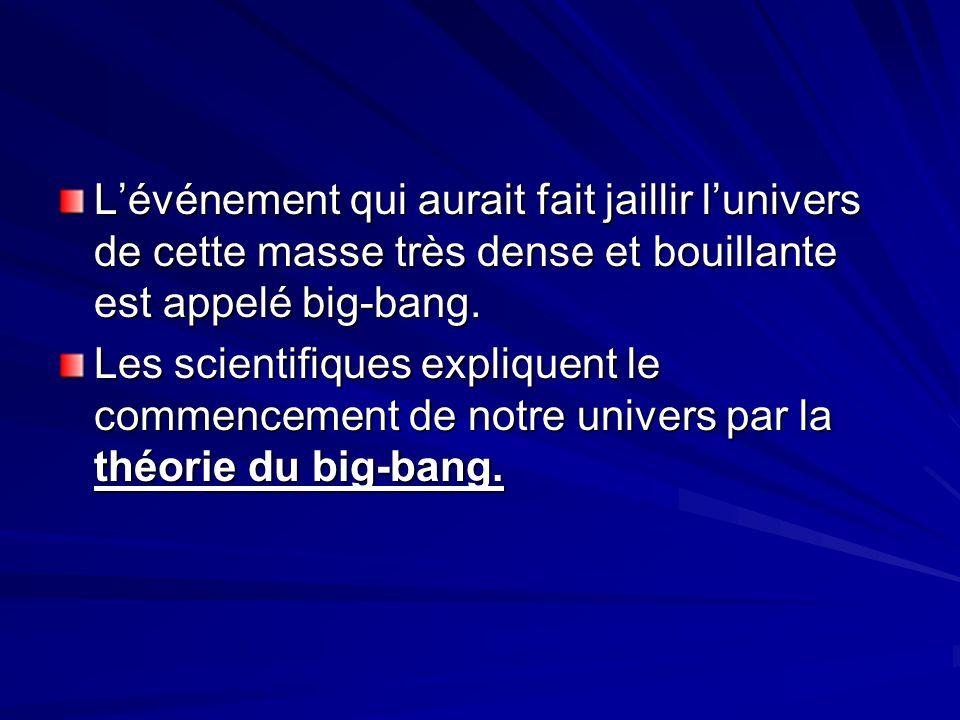 Lévénement qui aurait fait jaillir lunivers de cette masse très dense et bouillante est appelé big-bang.