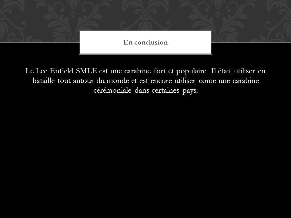 Le Lee Enfield SMLE est une carabine fort et populaire.
