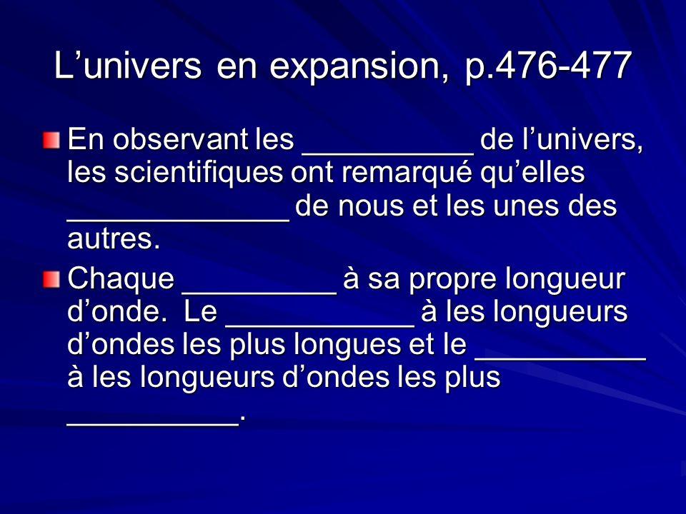 Lunivers en expansion, p.476-477 En observant les __________ de lunivers, les scientifiques ont remarqué quelles _____________ de nous et les unes des autres.