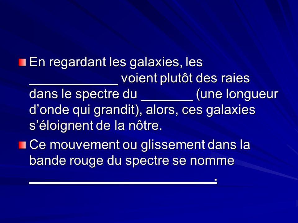 En regardant les galaxies, les ____________ voient plutôt des raies dans le spectre du _______ (une longueur donde qui grandit), alors, ces galaxies séloignent de la nôtre.