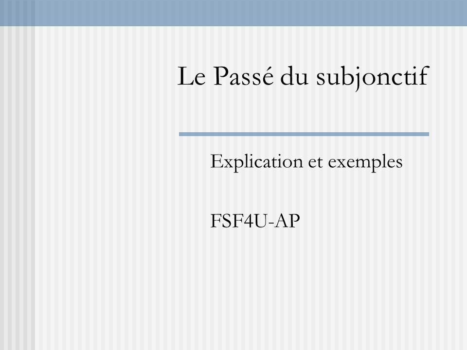 Le Passé du subjonctif Explication et exemples FSF4U-AP