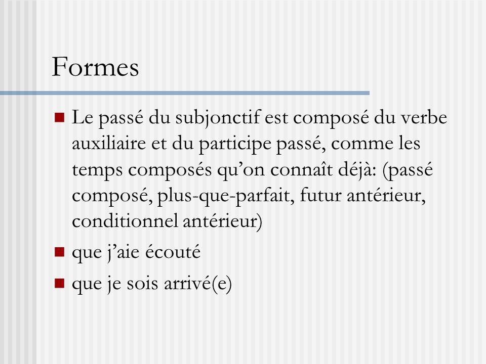 Formes Le passé du subjonctif est composé du verbe auxiliaire et du participe passé, comme les temps composés quon connaît déjà: (passé composé, plus-