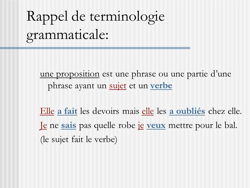Rappel de terminologie grammaticale: une proposition est une phrase ou une partie dune phrase ayant un sujet et un verbe Elle a fait les devoirs mais