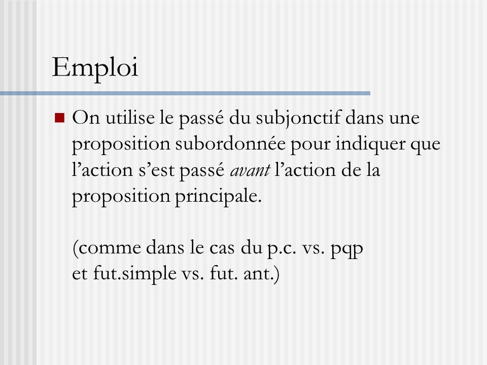 Emploi On utilise le passé du subjonctif dans une proposition subordonnée pour indiquer que laction sest passé avant laction de la proposition princip