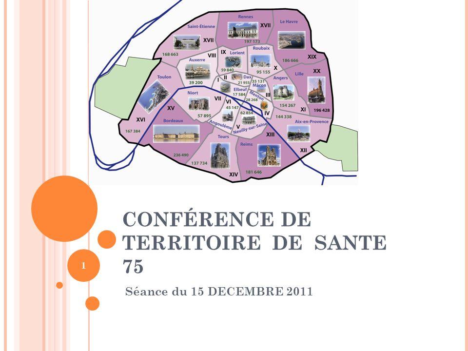 CONFÉRENCE DE TERRITOIRE DE SANTE 75 Séance du 15 DECEMBRE 2011 1