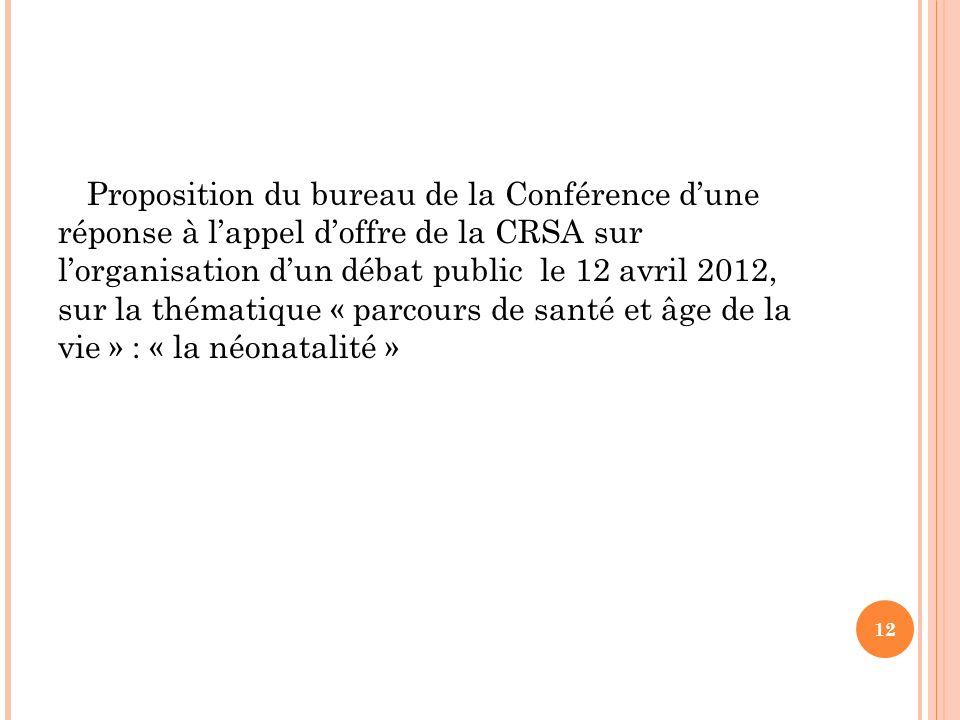 Proposition du bureau de la Conférence dune réponse à lappel doffre de la CRSA sur lorganisation dun débat public le 12 avril 2012, sur la thématique « parcours de santé et âge de la vie » : « la néonatalité » 12