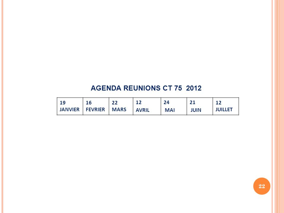 22 19 JANVIER 16 FEVRIER 22 MARS 12 AVRIL 24 MAI 21 JUIN 12 JUILLET AGENDA REUNIONS CT 75 2012