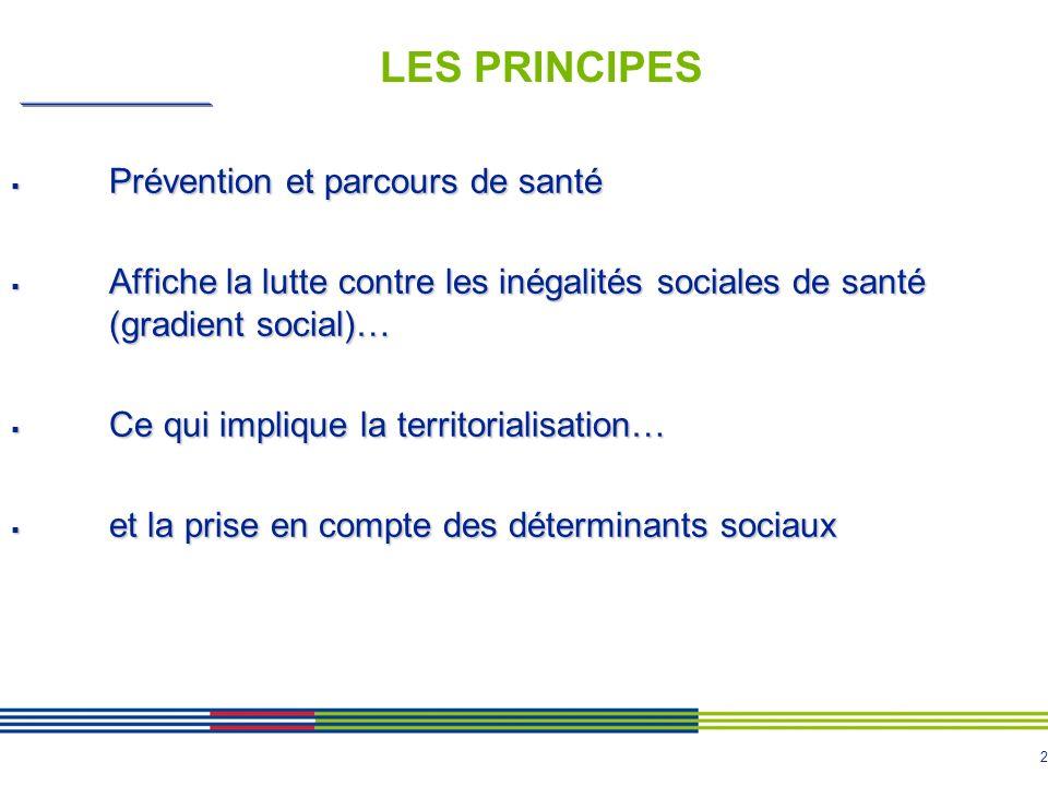 2 LES PRINCIPES Prévention et parcours de santé Prévention et parcours de santé Affiche la lutte contre les inégalités sociales de santé (gradient soc