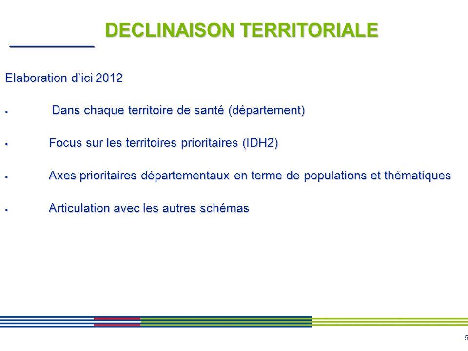 5 DECLINAISON TERRITORIALE Elaboration dici 2012 Dans chaque territoire de santé (département) Dans chaque territoire de santé (département) Focus sur