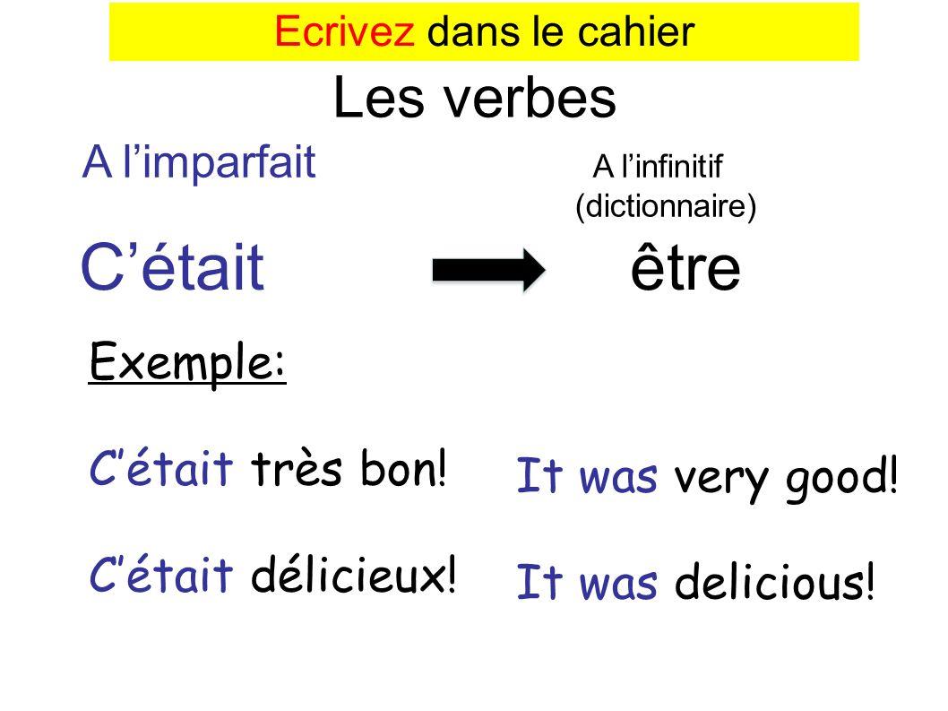 Cétait être Les verbes A limparfait A linfinitif (dictionnaire) Exemple: Cétait très bon! Cétait délicieux! It was very good! It was delicious! Ecrive