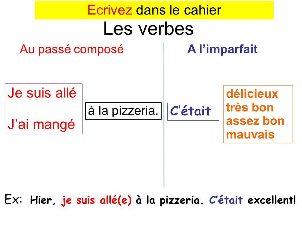 Je suis allé Jai mangé Les verbes Au passé composé A limparfait Ex: Hier, je suis allé(e) à la pizzeria.