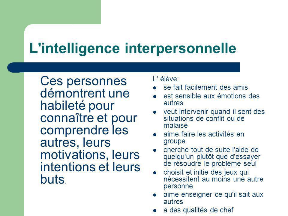 L'intelligence interpersonnelle Ces personnes démontrent une habileté pour connaître et pour comprendre les autres, leurs motivations, leurs intention