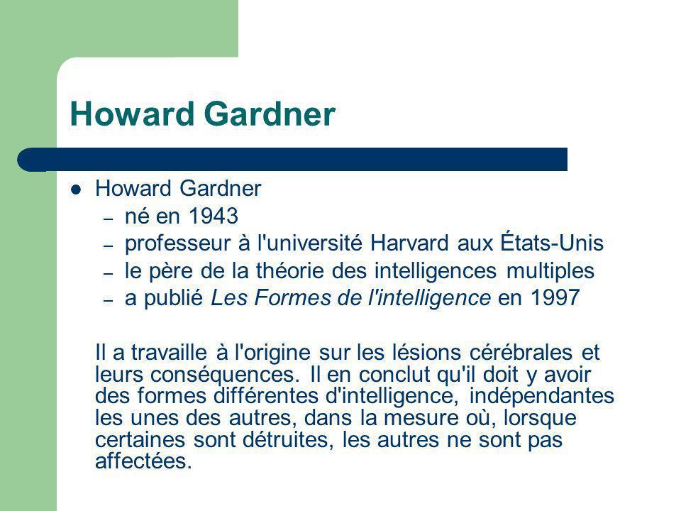 Howard Gardner – né en 1943 – professeur à l'université Harvard aux États-Unis – le père de la théorie des intelligences multiples – a publié Les Form