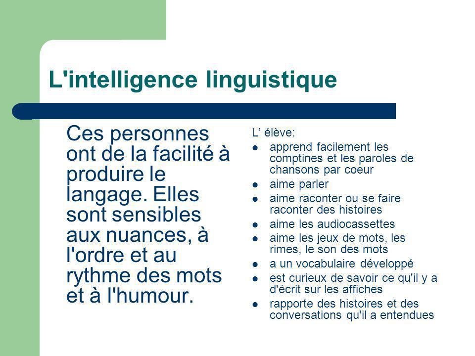 L'intelligence linguistique Ces personnes ont de la facilité à produire le langage. Elles sont sensibles aux nuances, à l'ordre et au rythme des mots