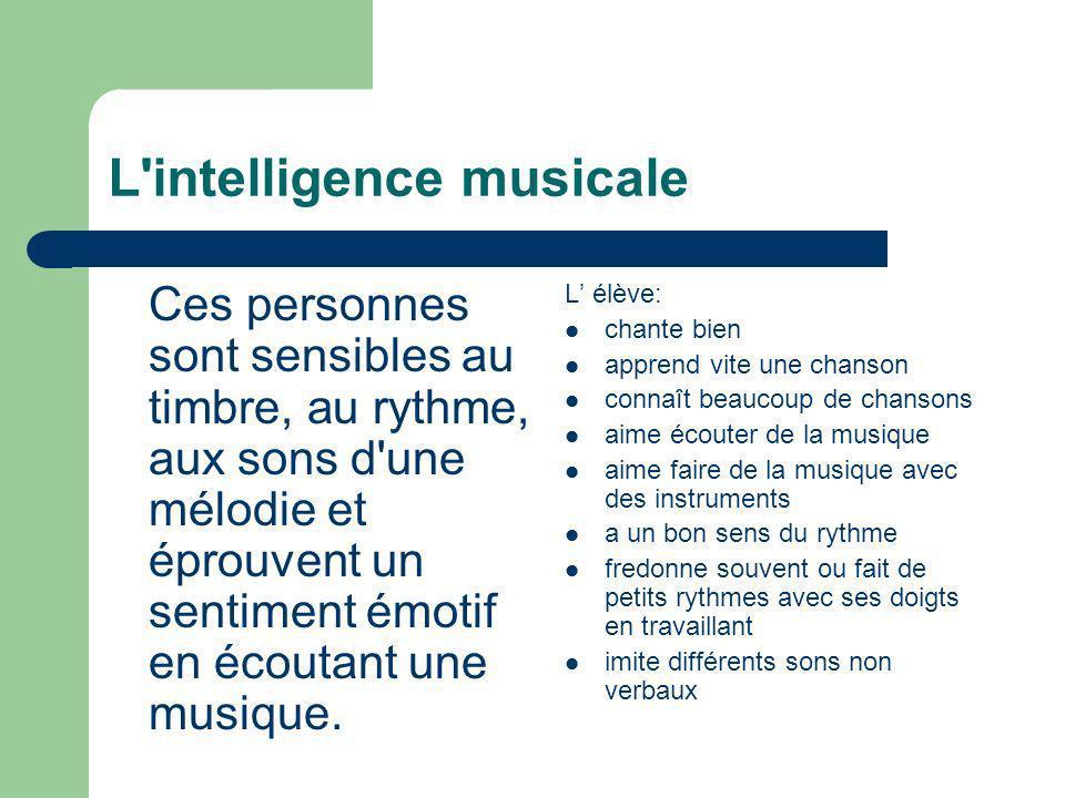L'intelligence musicale Ces personnes sont sensibles au timbre, au rythme, aux sons d'une mélodie et éprouvent un sentiment émotif en écoutant une mus