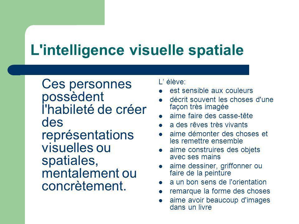 L'intelligence visuelle spatiale Ces personnes possèdent l'habileté de créer des représentations visuelles ou spatiales, mentalement ou concrètement.