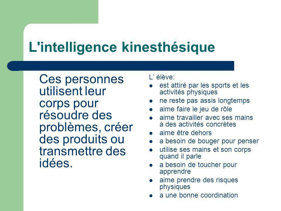 L'intelligence kinesthésique Ces personnes utilisent leur corps pour résoudre des problèmes, créer des produits ou transmettre des idées. L élève: est