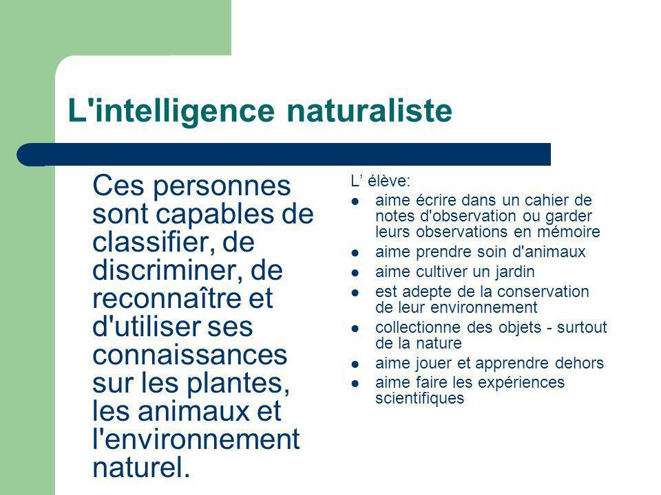 L'intelligence naturaliste Ces personnes sont capables de classifier, de discriminer, de reconnaître et d'utiliser ses connaissances sur les plantes,