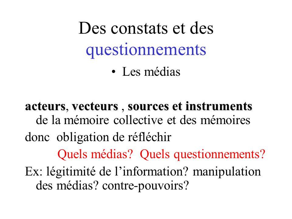 Des constats et des questionnements Les médias acteursvecteurs sources et instruments acteurs, vecteurs, sources et instruments de la mémoire collective et des mémoires donc obligation de réfléchir Quels médias.