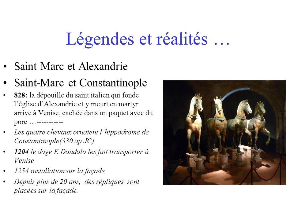 Légendes et réalités … Saint Marc et Alexandrie Saint-Marc et Constantinople 828: la dépouille du saint italien qui fonde léglise dAlexandrie et y meu