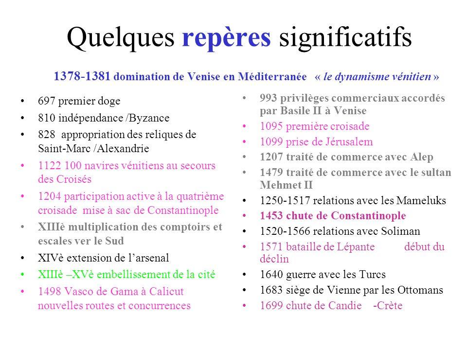 Quelques repères significatifs 1378-1381 domination de Venise en Méditerranée « le dynamisme vénitien » 697 premier doge 810 indépendance /Byzance 828