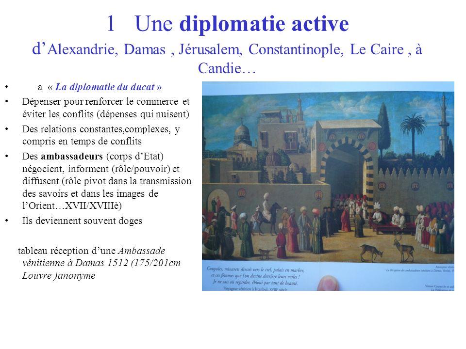 1 Une diplomatie active d Alexandrie, Damas, Jérusalem, Constantinople, Le Caire, à Candie… a « La diplomatie du ducat » Dépenser pour renforcer le co
