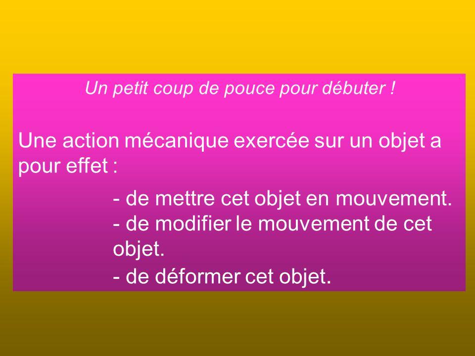 Un petit coup de pouce pour débuter ! Une action mécanique exercée sur un objet a pour effet : - de mettre cet objet en mouvement. - de modifier le mo