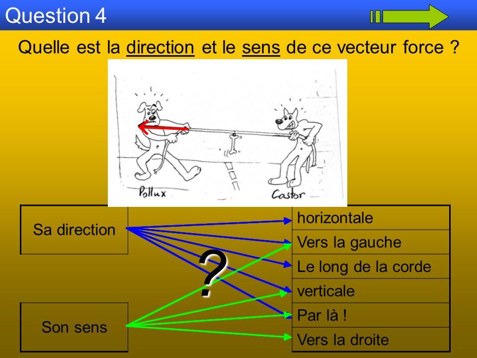 Question 4 Quelle est la direction et le sens de ce vecteur force ? Sa direction horizontale Vers la gauche Le long de la corde verticale Son sens Par