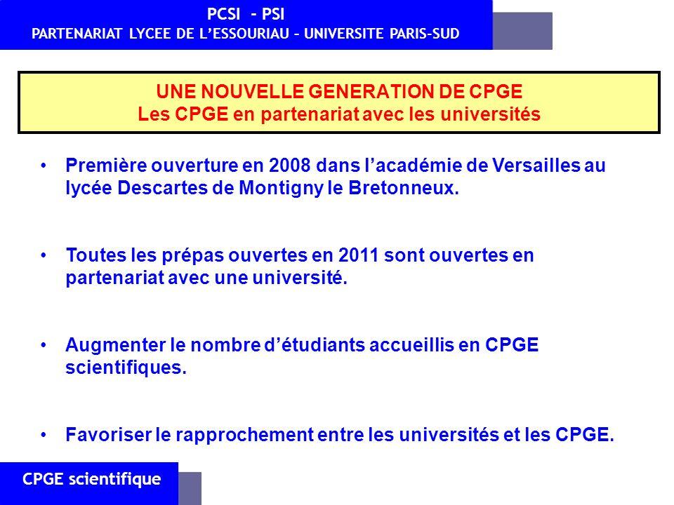 UNE NOUVELLE GENERATION DE CPGE Les CPGE en partenariat avec les universités CPGE scientifique PCSI - PSI PARTENARIAT LYCEE DE LESSOURIAU – UNIVERSITE