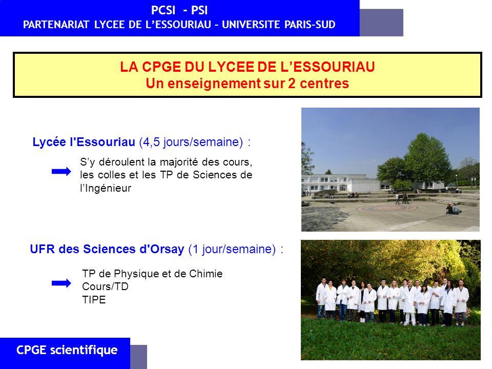 UFR des Sciences d'Orsay (1 jour/semaine) : Lycée l'Essouriau (4,5 jours/semaine) : Sy déroulent la majorité des cours, les colles et les TP de Scienc
