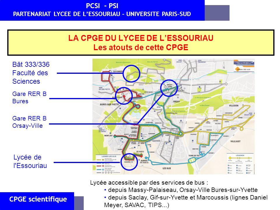 Lycée de l'Essouriau Gare RER B Bures Gare RER B Orsay-Ville Lycée accessible par des services de bus : depuis Massy-Palaiseau, Orsay-Ville Bures-sur-