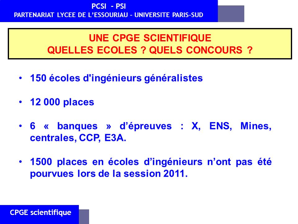 CPGE scientifique PCSI - PSI PARTENARIAT LYCEE DE LESSOURIAU – UNIVERSITE PARIS-SUD 3) Quels enseignements ?