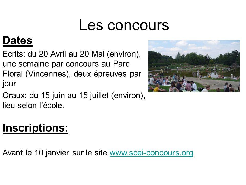 Les concours Dates Ecrits: du 20 Avril au 20 Mai (environ), une semaine par concours au Parc Floral (Vincennes), deux épreuves par jour Oraux: du 15 juin au 15 juillet (environ), lieu selon lécole.
