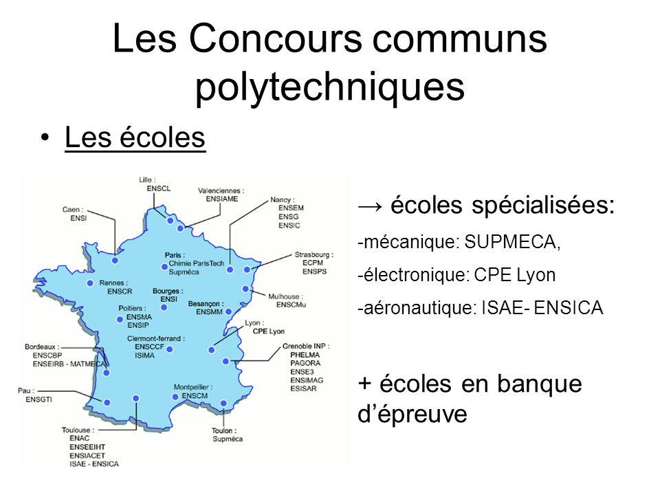 Les Concours communs polytechniques Les écoles écoles spécialisées: -mécanique: SUPMECA, -électronique: CPE Lyon -aéronautique: ISAE- ENSICA + écoles en banque dépreuve