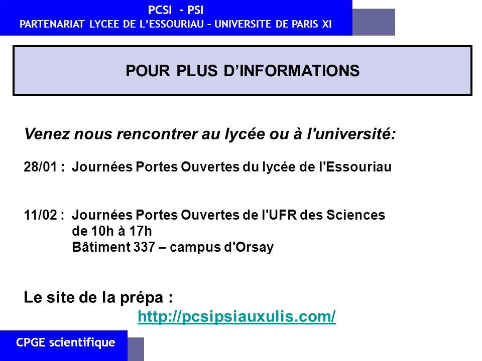 CPGE scientifique PCSI - PSI PARTENARIAT LYCEE DE LESSOURIAU – UNIVERSITE DE PARIS XI POUR PLUS DINFORMATIONS Venez nous rencontrer au lycée ou à l'un