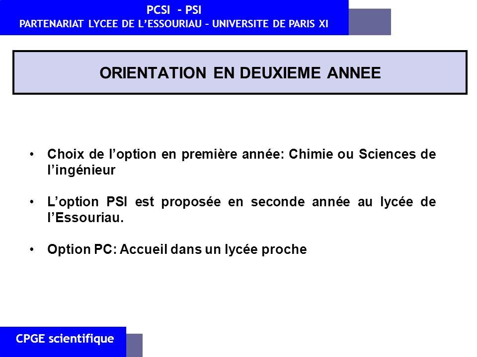 CPGE scientifique PCSI - PSI PARTENARIAT LYCEE DE LESSOURIAU – UNIVERSITE DE PARIS XI HORAIRES PCSI Horaires en PCSI CoursTDTPTotal Interrogations orales Anglais2--21h/quinzaine Chimie20,51,541h / 4 semaines E.PS2---- Français2--21h / trimestre Informatique-1-12h/quinzaine Mathématiques73-101h/quinzaine Physique51281h/quinzaine Sciences de l Ingénieur11241h / 4 semaines Total216,55,5332 à 3h /semaine