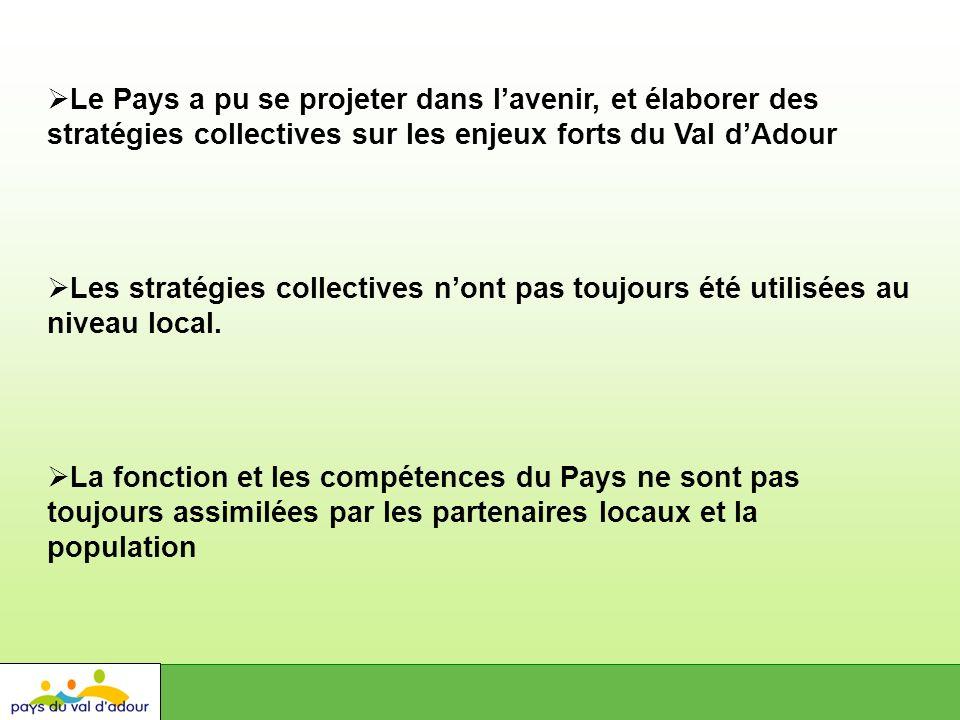 Le Pays a pu se projeter dans lavenir, et élaborer des stratégies collectives sur les enjeux forts du Val dAdour Les stratégies collectives nont pas toujours été utilisées au niveau local.