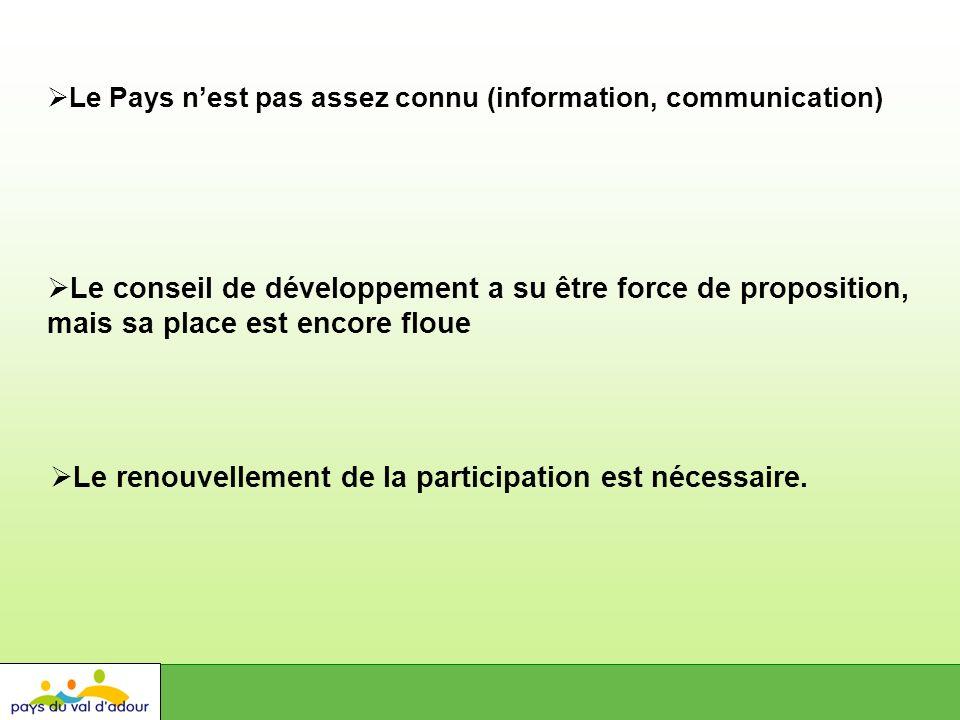 Le Pays nest pas assez connu (information, communication) Le conseil de développement a su être force de proposition, mais sa place est encore floue Le renouvellement de la participation est nécessaire.