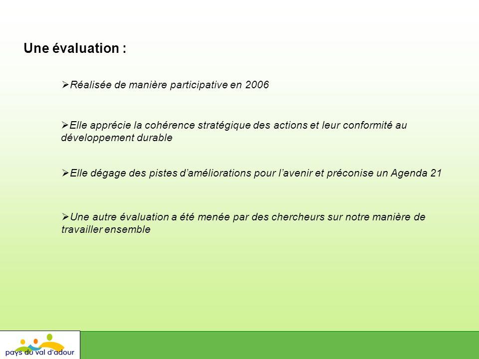 Une évaluation : Elle dégage des pistes daméliorations pour lavenir et préconise un Agenda 21 Réalisée de manière participative en 2006 Elle apprécie la cohérence stratégique des actions et leur conformité au développement durable Une autre évaluation a été menée par des chercheurs sur notre manière de travailler ensemble