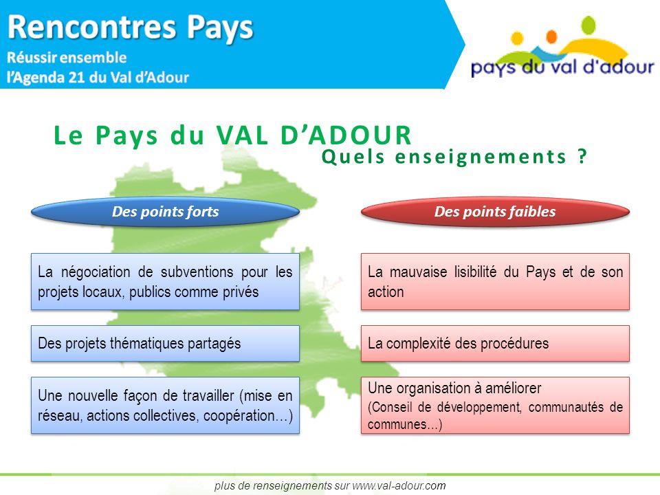 plus de renseignements sur www.val-adour.com Le Pays du VAL DADOUR Quels enseignements .