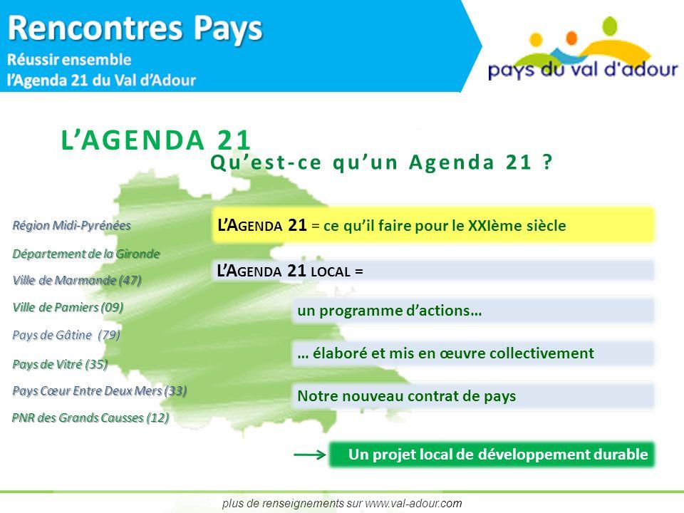 plus de renseignements sur www.val-adour.com LAGENDA 21 Quest-ce quun Agenda 21 .
