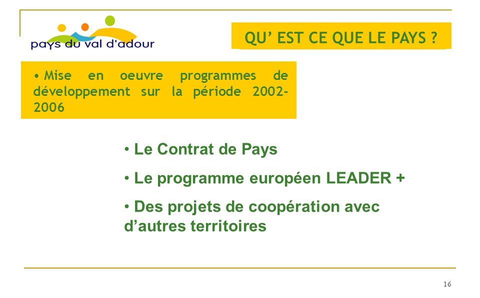 QU EST CE QUE LE PAYS ? Mise en oeuvre programmes de développement sur la période 2002- 2006 Le Contrat de Pays Le programme européen LEADER + Des pro