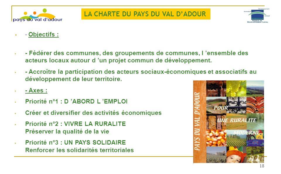 - Objectifs : - Fédérer des communes, des groupements de communes, l ensemble des acteurs locaux autour d un projet commun de développement. - Accroît
