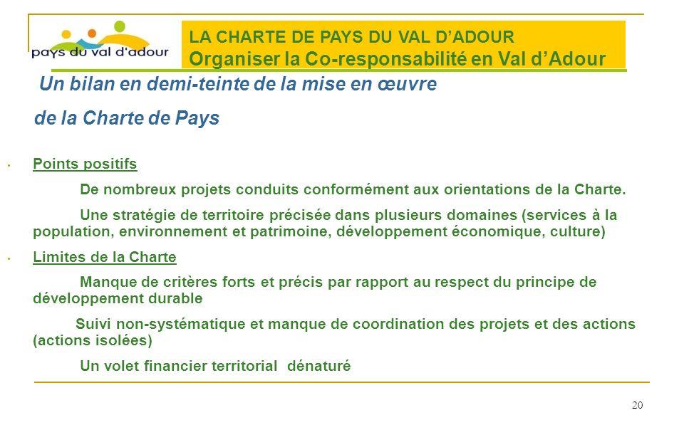 Points positifs De nombreux projets conduits conformément aux orientations de la Charte. Une stratégie de territoire précisée dans plusieurs domaines