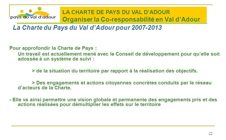 Pour approfondir la Charte de Pays : Un travail est actuellement mené avec le Conseil de développement pour quelle soit adossée à un système de suivi