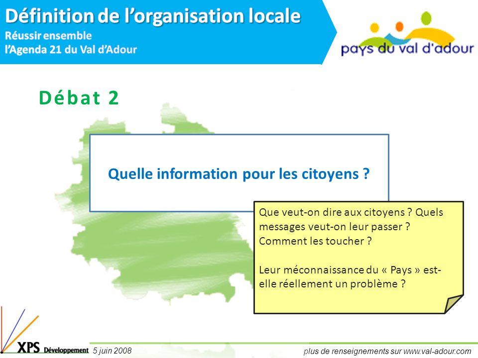 plus de renseignements sur www.val-adour.com 5 juin 2008 Débat 2 Quelle information pour les citoyens .