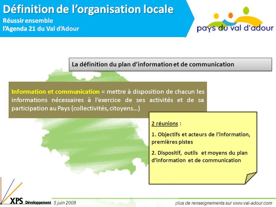 plus de renseignements sur www.val-adour.com 5 juin 2008 Information et communication = mettre à disposition de chacun les informations nécessaires à lexercice de ses activités et de sa participation au Pays (collectivités, citoyens…) 2 réunions : 1.