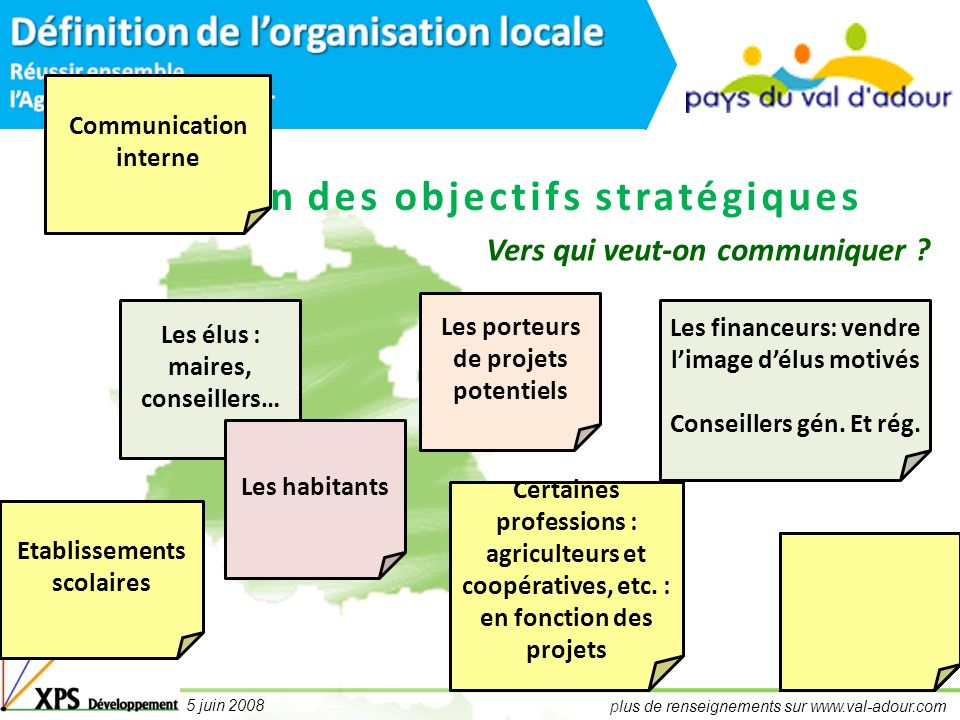 plus de renseignements sur www.val-adour.com 5 juin 2008 Définition des objectifs stratégiques Quels objectifs pour le plan dinformation et de communication.